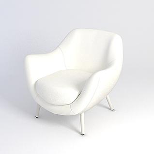 白色沙发椅3d模型