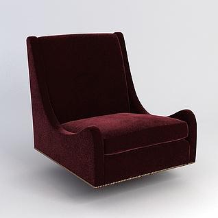 酒红色懒人沙发3d模型