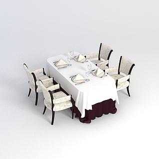 西餐桌椅3d模型
