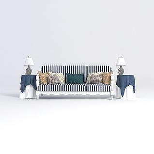 地中海沙发边几组合3d模型