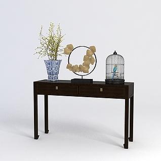 中式玄关桌陈设品组合3d模型