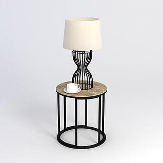 现代茶几台灯组合3d模型
