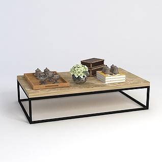 桌子摆件组合3d模型