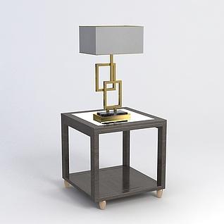 中式台灯桌子组合3d模型