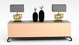 柜子台灯摆件组合3D模型