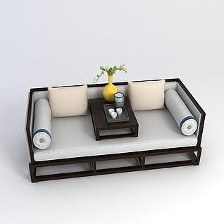 中式传统罗汉床3d模型