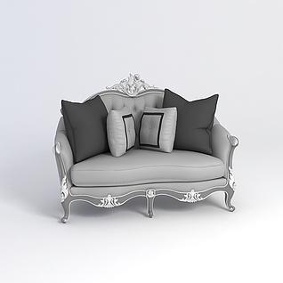欧式灰色沙发3d模型