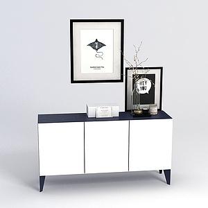 白色装饰柜模型