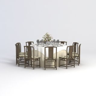 中式多人餐桌椅3d模型3d模型