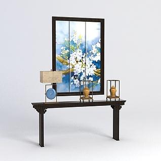 中式玄关条案装饰画组合3d模型