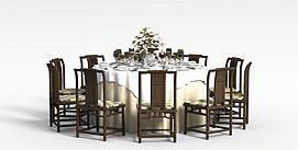 中式多人餐桌椅3D模型
