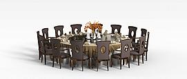 多人餐桌椅3D模型