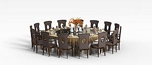 多人餐桌椅模型3d模型