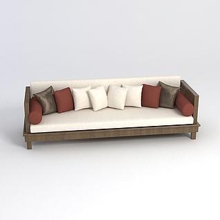 中式客厅长沙发3d模型