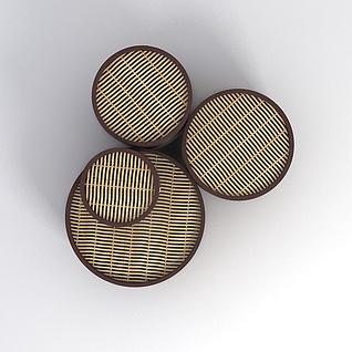 藤编小茶几3d模型