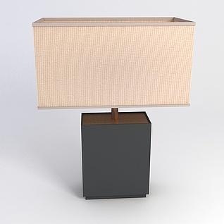 中式方形台灯3d模型