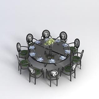 宴会餐桌餐椅组合3d模型