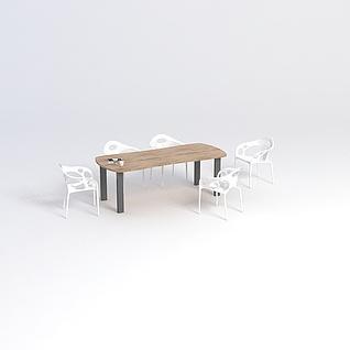 现代简约桌椅组合3d模型