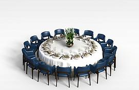 大型多人餐桌椅3D模型
