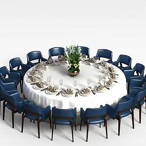 大型多人餐桌椅模型3d模型