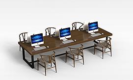 办公桌椅电脑组合3D模型