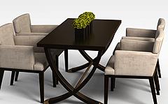 休闲茶餐厅桌椅模型3d模型