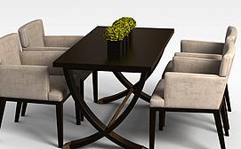 休闲茶餐厅桌椅3D模型