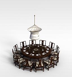 中式圆桌椅子吊灯组合3d模型