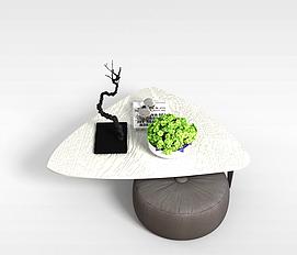 个性茶几圆凳组合3D模型