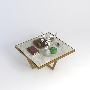 中式方桌茶几3d模型