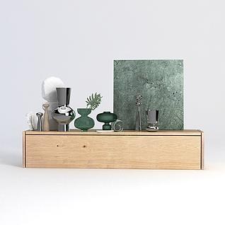 现代边柜装饰品摆件组合3d模型