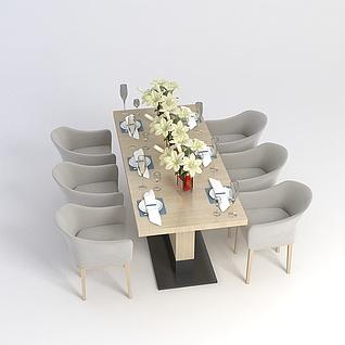 现代餐桌餐椅组合3d模型3d模型