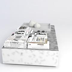 现代桌子书摆件组合模型3d模型