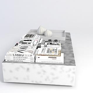 现代桌子书摆件组合3d模型