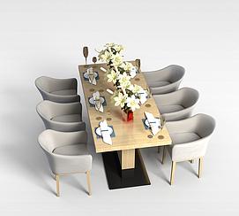 现代餐桌餐椅组合3D模型