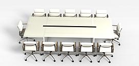 现代会议桌椅组合3D模型