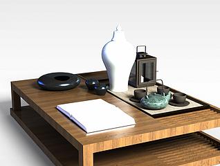 中式茶几摆件组合3d模型