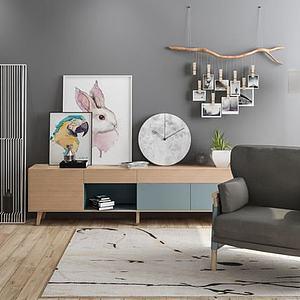 北歐創意照片墻裝飾柜組合模型3d模型