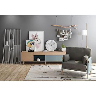 北欧创意照片墙装饰柜组合3d模型