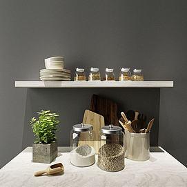 厨房玻璃收纳罐模型