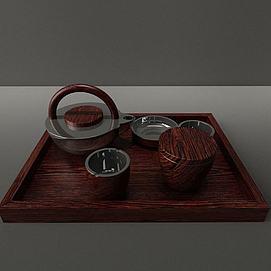 现代茶具模型