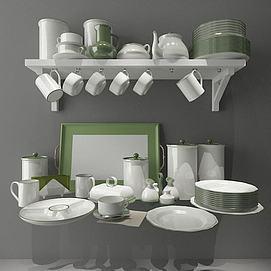 厨房碗碟器具模型