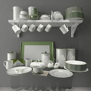 厨房碗碟器具3d模型3d模型