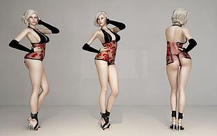 美女模特模型3d模型