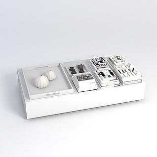茶几书籍组合3d模型