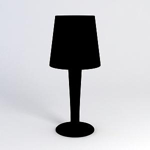 黑色简约台灯模型
