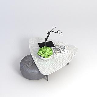休闲茶几沙发凳组合3d模型