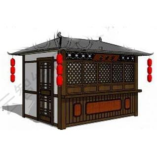中式售卖亭3d模型3d模型