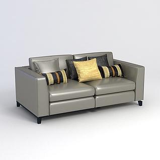 皮革沙发3d模型