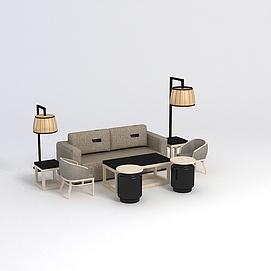 沙發茶幾組合模型